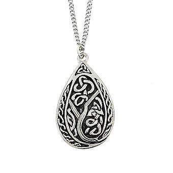 Handmade Celtic Knotwork Teardrop Pewter Chain Pendant