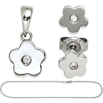Children jewelry set flower 925 Silver cubic zirconia pendant earrings chain 38 cm