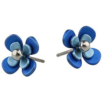 Ti2 titânio duplo quatro pétala pérola flor brincos - azul