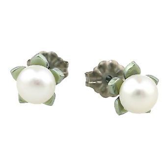 Flor pequeña de titanio Ti2 y Pendientes perla - azul Aqua