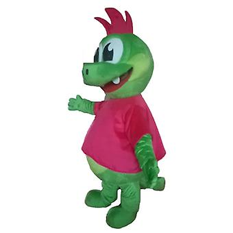 mascot dragon SPOTSOUND, green dinosaur with a ridge rose