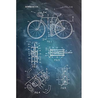 Fahrrad Patentzeichnung Poster