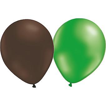 Balony mix 24-pack (12 brązowy i 12 zielony metalik)
