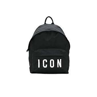 DSQUARED2 BLACK WHITE ICON BACKPACK