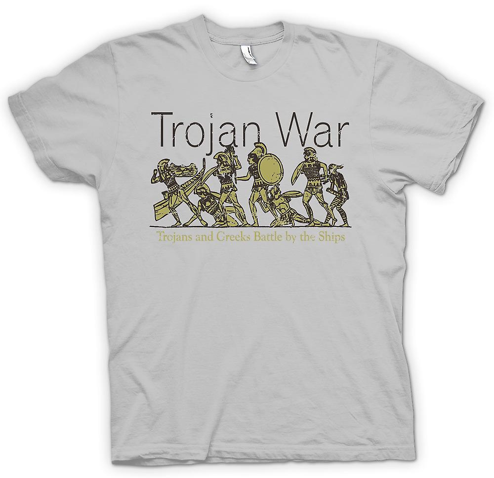 Mens T-shirt - Trojan War - Trojans and Greeks Battle By Ships