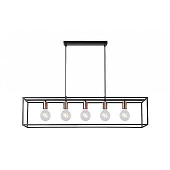 lucide Arthur Rectangle moderne métal noir et cuivre luminaire suspendu