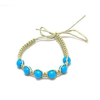 The Olivia Collection Beige Cotton Friendship Bracelet with Blue Beads