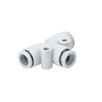 SMC Kq2 Pneumatic Tee Tube-To-Tube Adapter, Push In 8 Mm