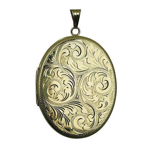 9ct Gold 45x35mm hand engraved flat oval Locket