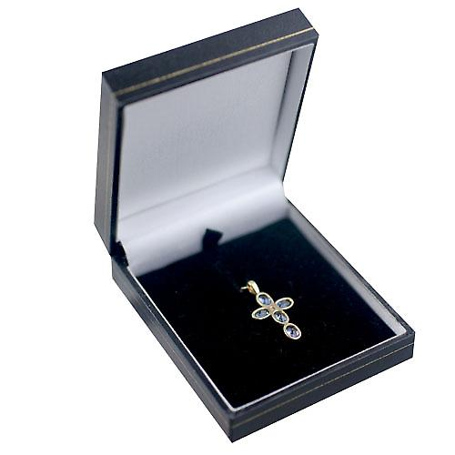 9ct Gold 25x16mm Cross set with 5 Sapphires and 1 Pearl