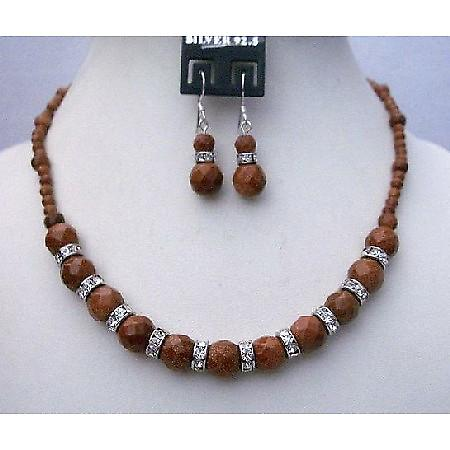 Party Handmade Jewelry Goldenstone Beads Necklace Silver Earrings Set