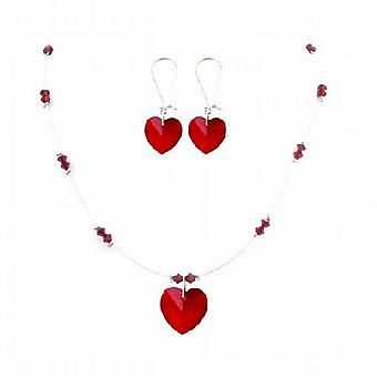 Valentine Love Siam Red Crystals Swarovski Heart & Beads Necklace Gift