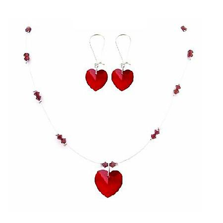 Valentine Love Siam Red Crystals Swarovski Heart & Beads Necklace Gift