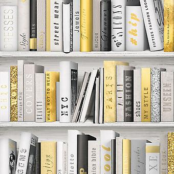Bookcase Wallpaper Fashion Library Gold White Books Reading Modern Muriva