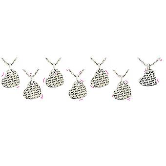 TOC Silvertone Love Heart Sentiment 2 Sided Pendant Necklaces - Pack of 7