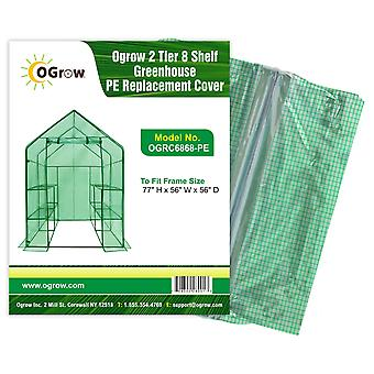 2 Tier 8 Shelf Greenhouse PE Replacement Cover - To Fit Frame Size 77