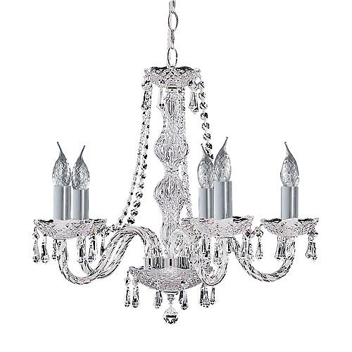 Searchlight 215-5 Hale 5 Arm Chrome Georgian Crystal Chandelier