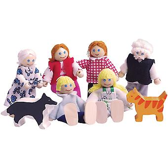 Bigjigs Toys Heritage Playset Wooden Doll Family Figure House Accessories Set