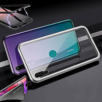 For Huawei Y7 2019 magnet/metall/glass tilfelle støtfanger sølv/gjennomsiktig veske veske tilfelle tilfelle ny