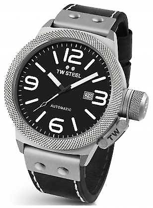 TW Steel Mens Canteen 50mm Automatic Black Leather CS6 Watch