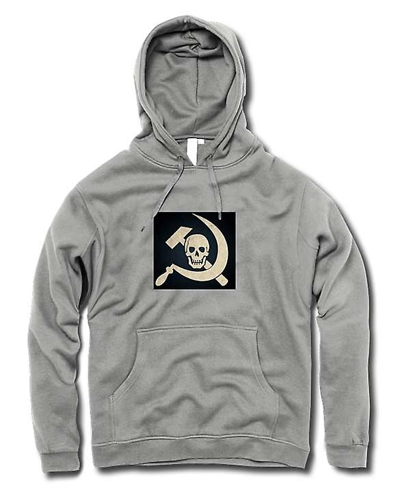 Mens Hoodie - Russian Hammer & Sickle With Skull