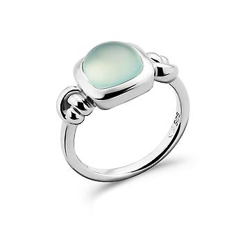 Orphelia 925 Silver Ring Square with Green Chalcedony Stone