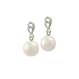 Colección eterna Bewitched AAA blanco FW perla y plata esterlina CZ gota pendientes perforados