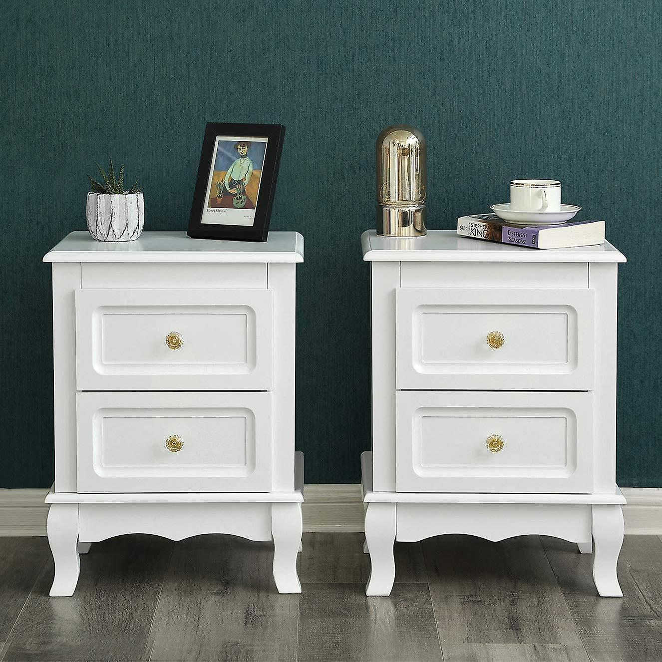 Set of 2 bedside tables with 2 drawers