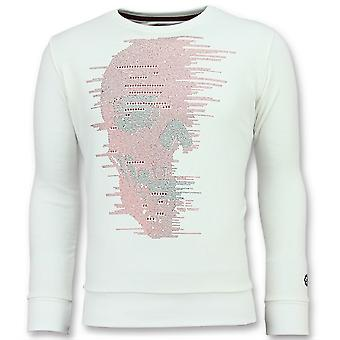 Skull Glitter-Cute Sweater men-6343W-White