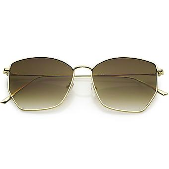 Modern Thin Metal Arms Medium Gold Frame Geometric Sunglasses 55mm