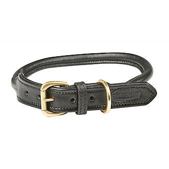 Weatherbeeta Rolled Leather Dog Collar - Black