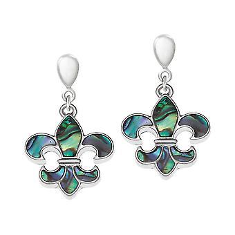 Ewige Sammlung Fleur De Lys Paua Shell Silber Ton Drop Clip auf Ohrringe