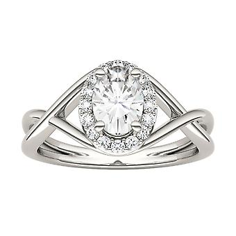 14K Gold Moissanite by Charles & Colvard 7x5mm Oval Statement Ring, 1.06cttw DEW