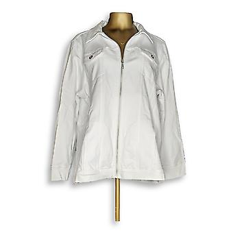 Denim & Co. Women's Plus Comfy Knit Denim Zip White A349249