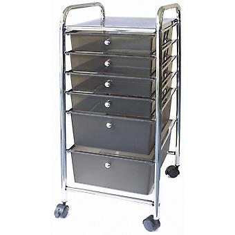 Cropper Hopper Home Center Rolling Cart 6 Drawer Smoke Ch34005