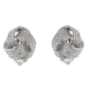 Clip On Earrings Store Silver Rope Knot Round Clip On Earrings