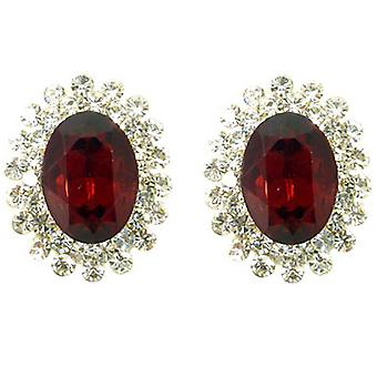 Clip On Earrings Store Large Oval Ruby & Crystal Clip On Earrings