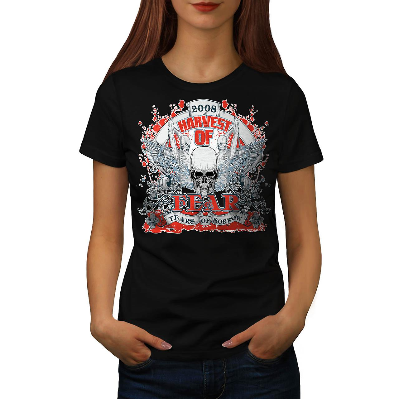 Harvest Of Fear Skull Tears Wing Women Black T-shirt | Wellcoda