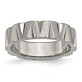 Titanium Engravable Polished and satin Notched 6mm Satin and Polised Band Ring - Ring Size: 6 to 13
