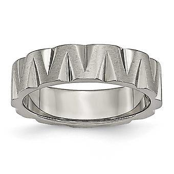 チタン彫刻用ポリッシュとサテン ノッチ 6 mm サテンと両面バンド リング - 指輪のサイズ: 6 に 13