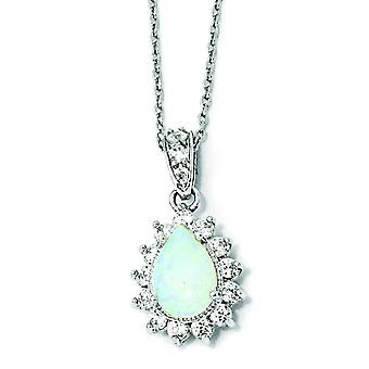 Sterling zilveren CZ synthetische Opal Pear Shaped halsketting - 18 Inch