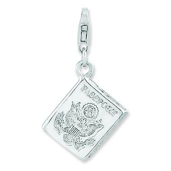 Sterling Silver Rhodium-plated 3-d Passport With Lobster Clasp Charm - 2.7 Grams