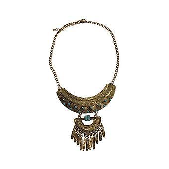 Guldfarvede boho erklæring halskæde med flotte detaljer