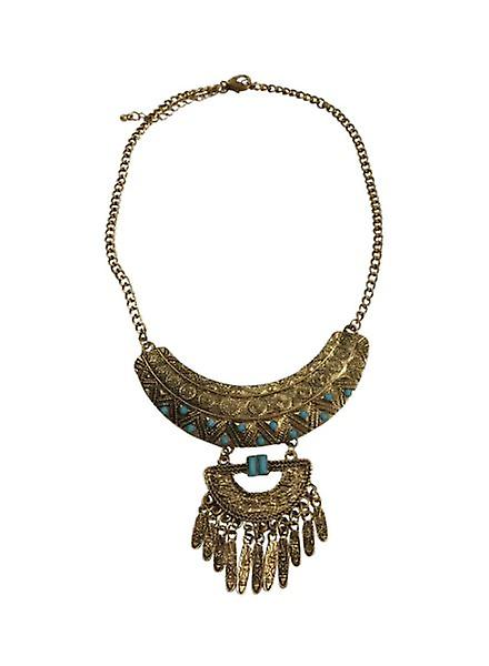 Gold-coloured boho statement necklace with beautiful details