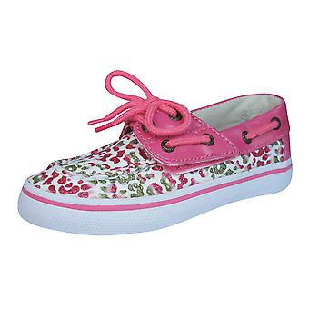 Sperry Bahama JR Childrens Girls Deck / Boat  Shoes - Gold Leopard