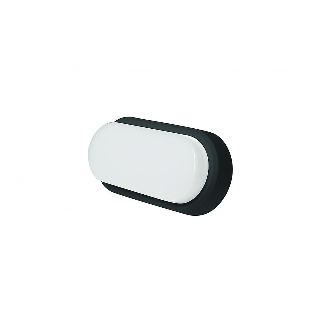 LED Robus Ohio 8W Oval Black And White Trim Bulkhead