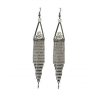 W.A.T Silver  Crystal Circle Tassel Style Fashion Earrings