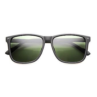Tynde væbnede afslappet mode rektangulære Horn kantede ramme med grøn tonet linse solbriller