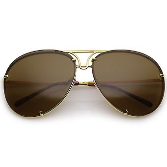 Oversize Rimless Metal Aviator Sunglasses Slim Arms Tinted Lens 68mm
