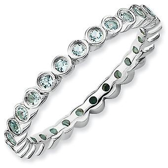 Sterling Silver Bezel Polished Patterned Rhodium-plated Stackable Expressions Aquamarine Ring - Ring Size: 5 to 10